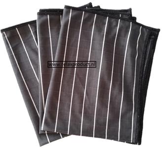 H) Bamboe glasdoeken 3x (zwart)